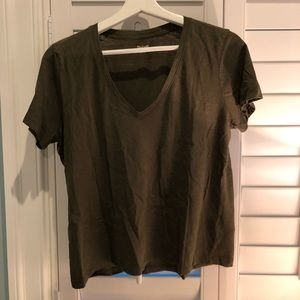 Madewell green V neck tee
